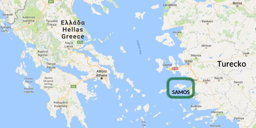 Ostrov samos Mapa