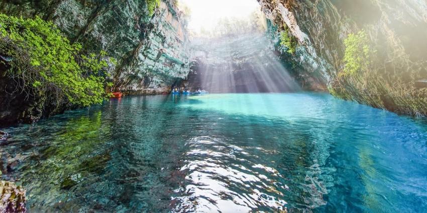 jaskyne Kefalónia Grécko